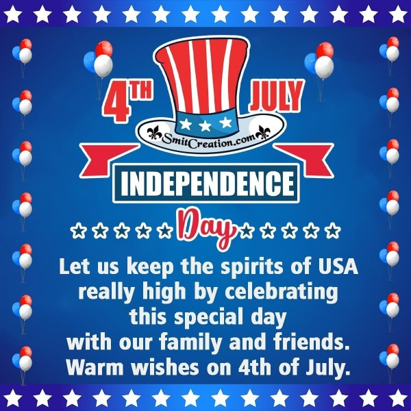 Warm Wishes On 4th of July Image