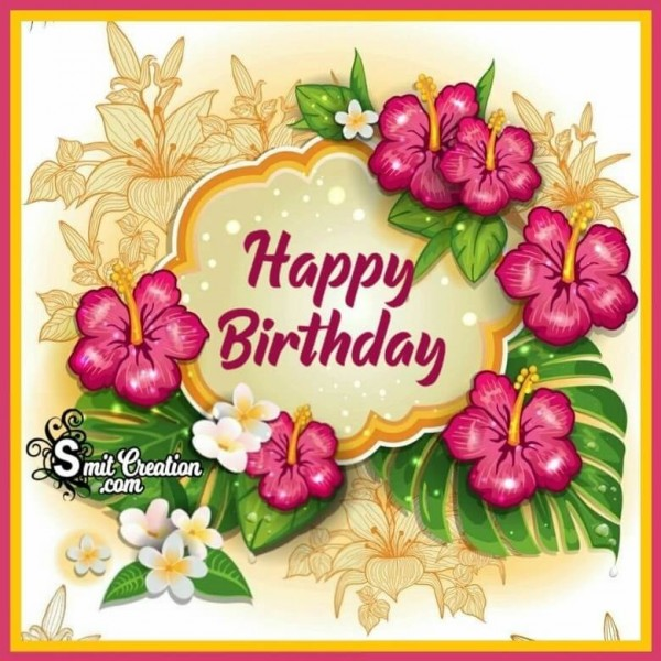 Happy Birthday Flower Boder Image