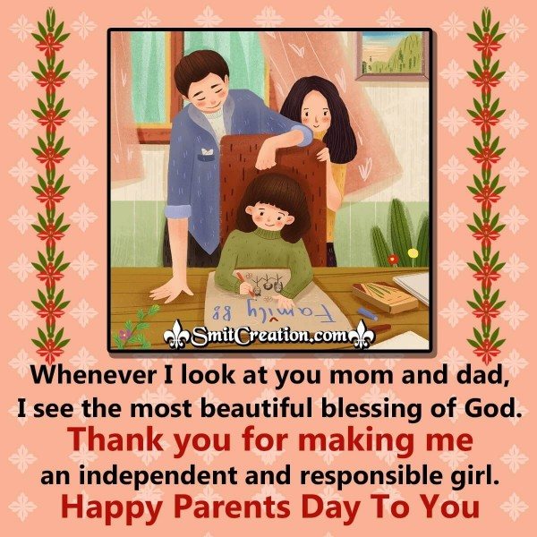 Happy Parents Day  Image From Daughter To Parents