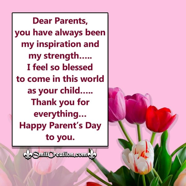 Happy Parent's Day Thank You Message Image