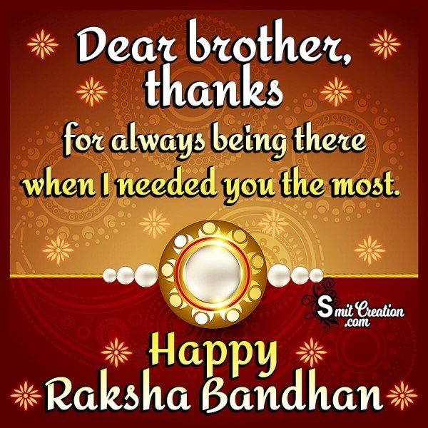 Happy Raksha Bandhan Thanks Brother