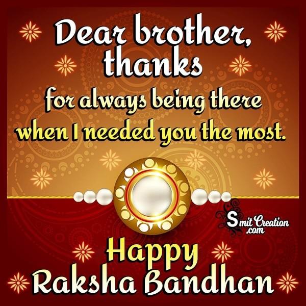 Happy Raksha Bandhan Thanks Brother
