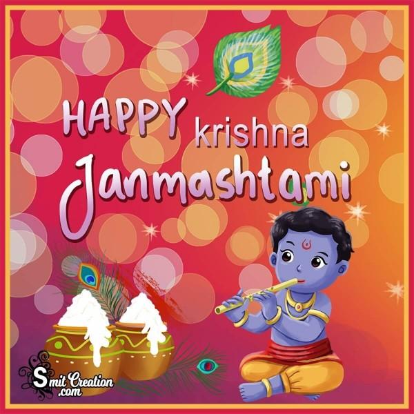 Cute Happy Krishna Janmashtami Image