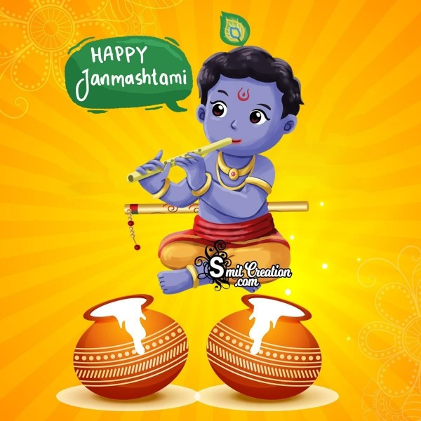 Happy Janmashtami Cute Krishna Image