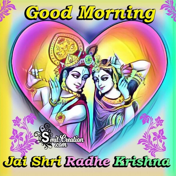 Colourful Good Morning Jai Shri Radha Krishna