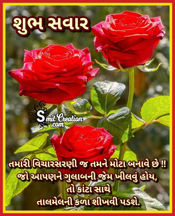 Shubh Savar Suvichar Message With Rose
