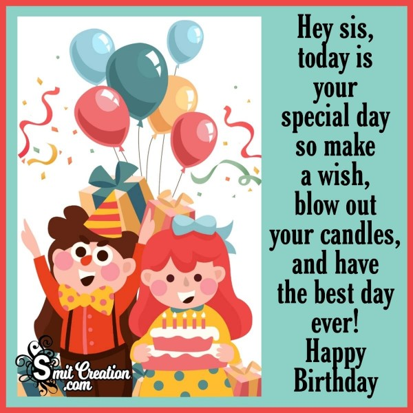 Happy Birthday Message Image For Sister