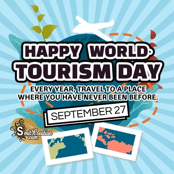 Happy World Tourism Day September 27 Quote Image