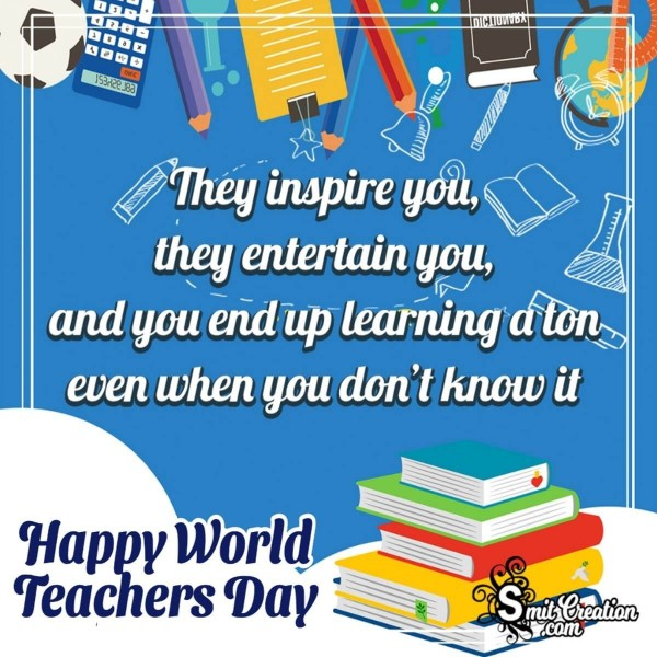 Happy World Teachers Day Inspiring Quote Image