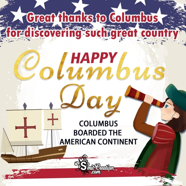 Happy Columbus Day Thanks Image