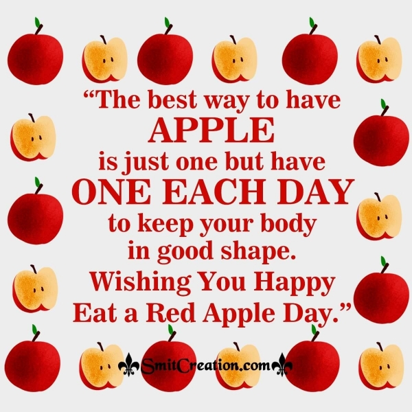 Wishing You Happy Eat A Red Apple Day