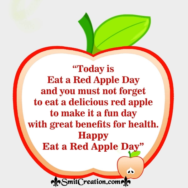 Eat A Red Apple Day Message Image