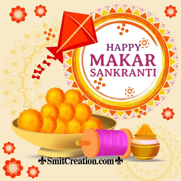 Happy Makar Sankranti With Kite And Food