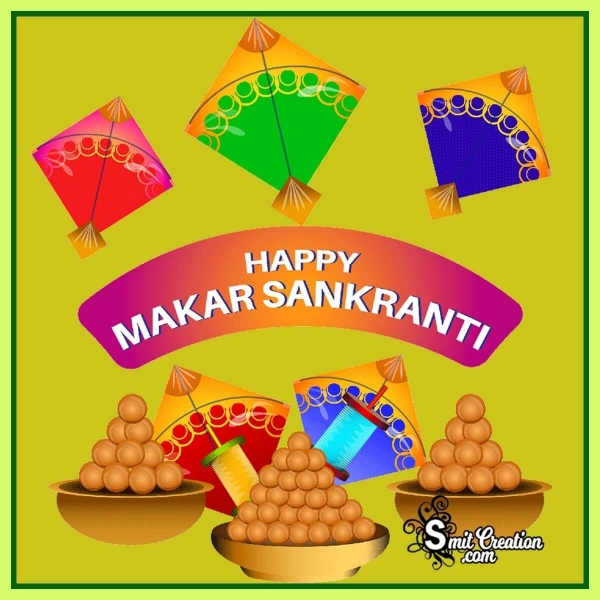 Happy Makar Sankranti With Kites And Laddus