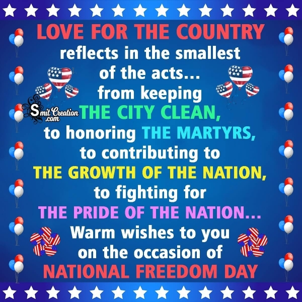 Warm Wishes On National Freedom Day