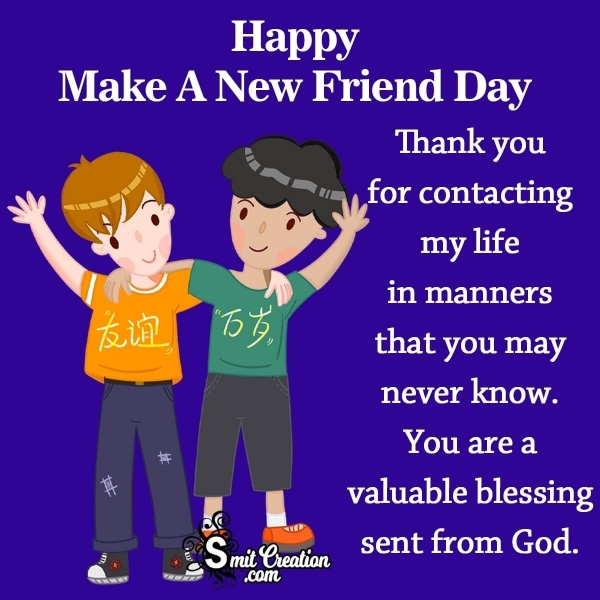 Happy Make A New Friend Day Thank You Note