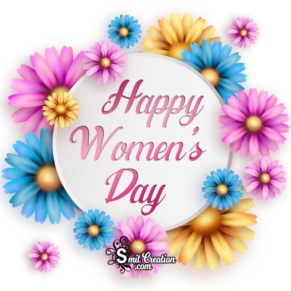 Happy Women's Day Coloured Flowers Image