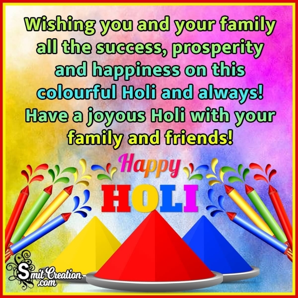 Holi Wish Image For Family And Friends
