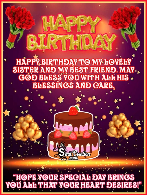 Happy Birthday Wish Image For Sister