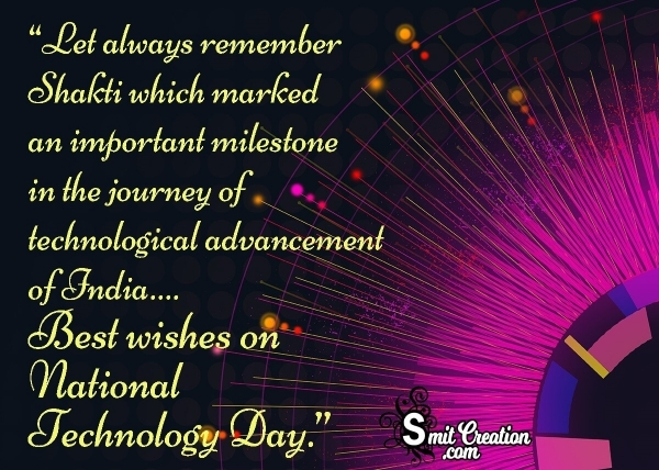 Best Wishes On National Technology Day