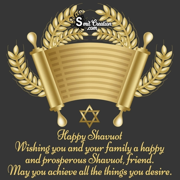 Shavuot Greetings for A Jewish Friend