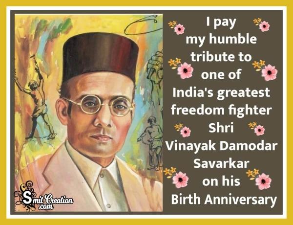 Tribute To Vinayak Damodar Savarkar Birth Anniversary Image