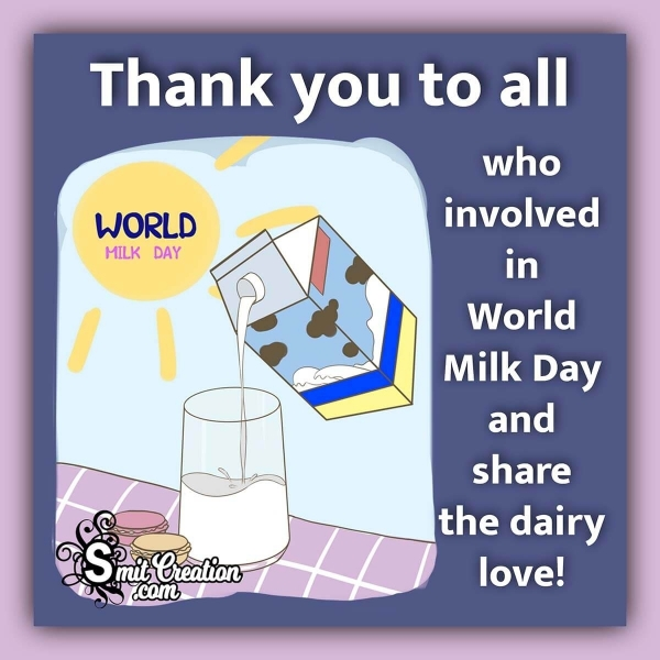 World Milk Day Thank You Message