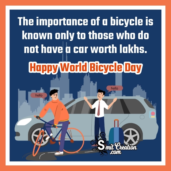 Happy World Bicycle Day Quote In English
