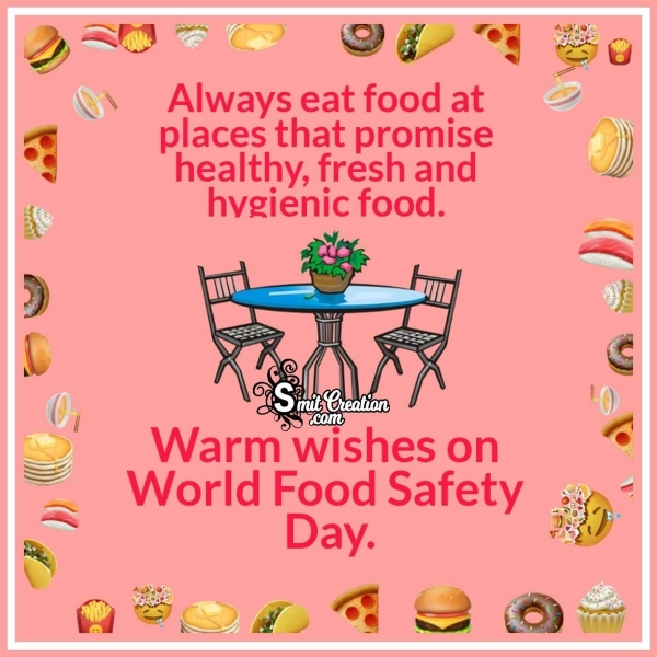 Warm Wishes On World Food Safety Day