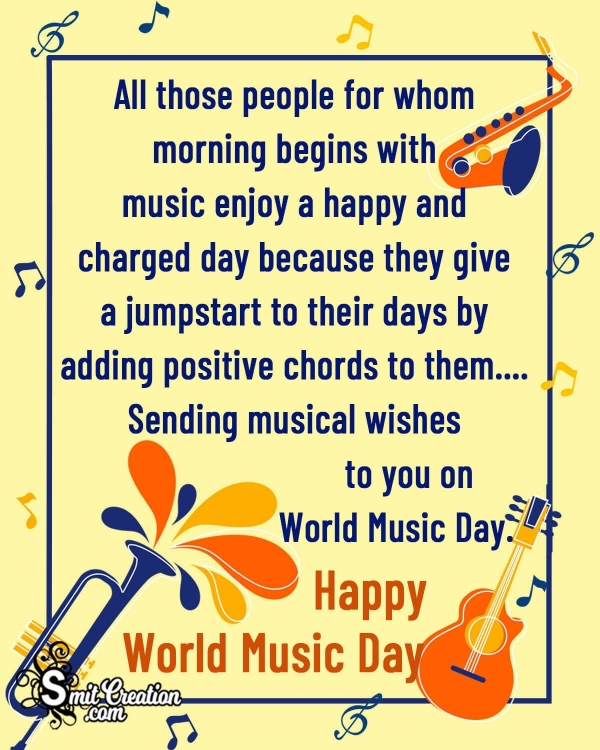Happy World Music Day Message Image