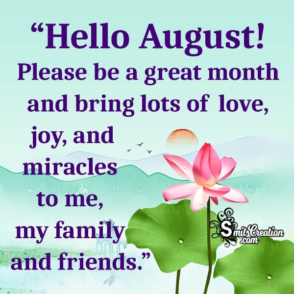 August Month Wishes, Quotes Images