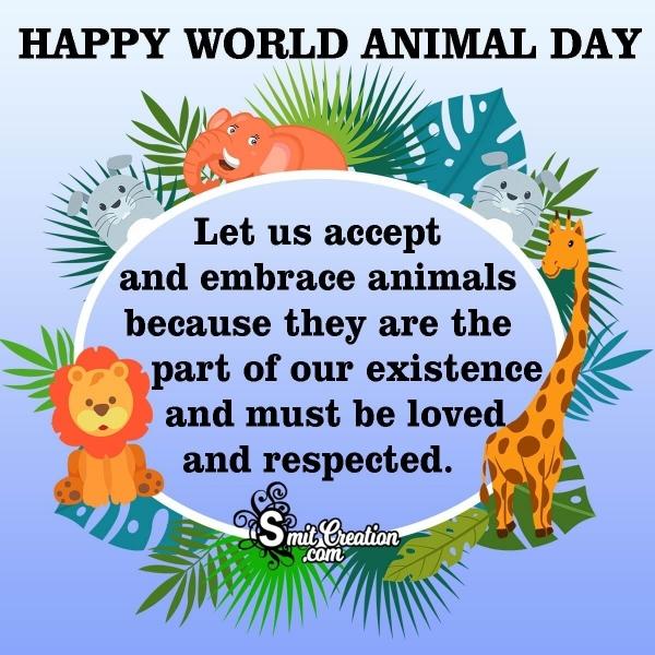 Best wishes on World Animals Day.